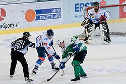 Ivo Jan of HK Olimpija in face off during ice-hockey match between HK Olimpija and HK Triglav in third match for Third place at Slovenian National League, on April 6, 2011 at Hala Tivoli, Ljubljana, Slovenia. (Photo By Matic Klansek Velej / Sportida.com)
