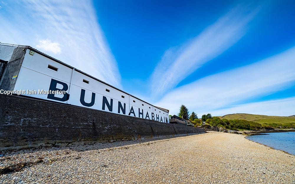 Exterior view of Bunnahabhain scotch whisky distillery of island of Islay, Inner Hebrides, Scotland UK