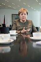 13 SEP 2017, BERLIN/GERMANY:<br /> Angela Merkel, CDU, Bundeskanzlerin, waehrend einem Interview, in Ihrem Buero, Bundeskanzlerin<br /> IMAGE: 20170917-01-002<br /> KEYWORDS: Büro