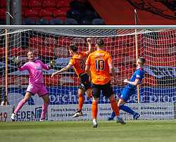 Dundee United's Lawrence Shankland scoring their first goal. half time : Dundee United 2 v 1 Inverness Caledonian Thistle, first Scottish Championship game of season 2019-2020, played 3/8/2019 at Tannadice Park, Dundee.