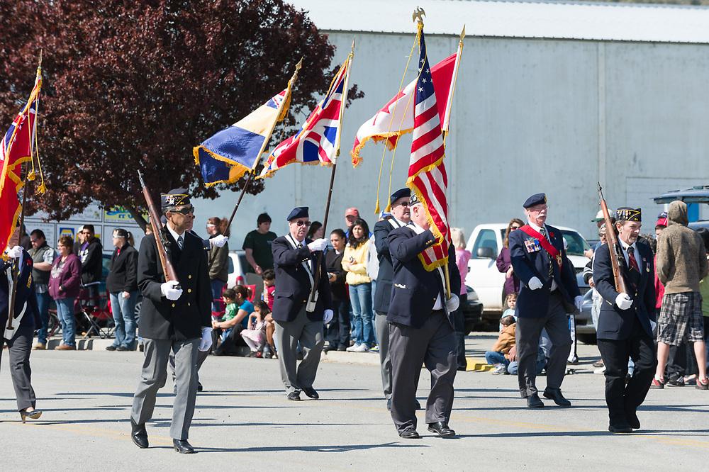 American Legion members, Annual May Festival Parade, Oroville, Washington, USA