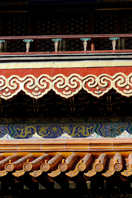 Yonghegong's decorative temples in Beijing, China.