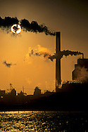 Pulp Mill at Sunset, Humboldt Bay, near Eureka / Samoa Humboldt County, CALIFORNIA