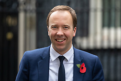 © Licensed to London News Pictures. 06/11/2018. London, UK. Health and Social Care Secretary Matt Hancock leaving 10 Downing Street after attending a Cabinet meeting this morning. Photo credit : Tom Nicholson/LNP