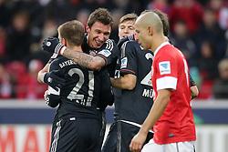 02.02.2013, Coface Arena, Mainz, GER, 1. FBL, 1. FSV Mainz 05 vs FC Bayern Muenchen, 20. Runde, im Bild Mario MANDZUKIC (FC Bayern Muenchen - 9) freut sich mit Philipp LAHM (FC Bayern Muenchen - 21) - und Toni KROOS (FC Bayern Muenchen - 39) nach seinem Tor zum 0-3 - vorne Elkin SOTO (FSV Mainz 05 Kapitaen - 19) frustriert // during the German Bundesliga 20th round match between 1. FSV Mainz 05 and FC Bayern Munich at the Coface Arena, Mainz, Germany on 2013/02/02. EXPA Pictures © 2013, PhotoCredit: EXPA/ Eibner/ Gerry Schmit..***** ATTENTION - OUT OF GER *****