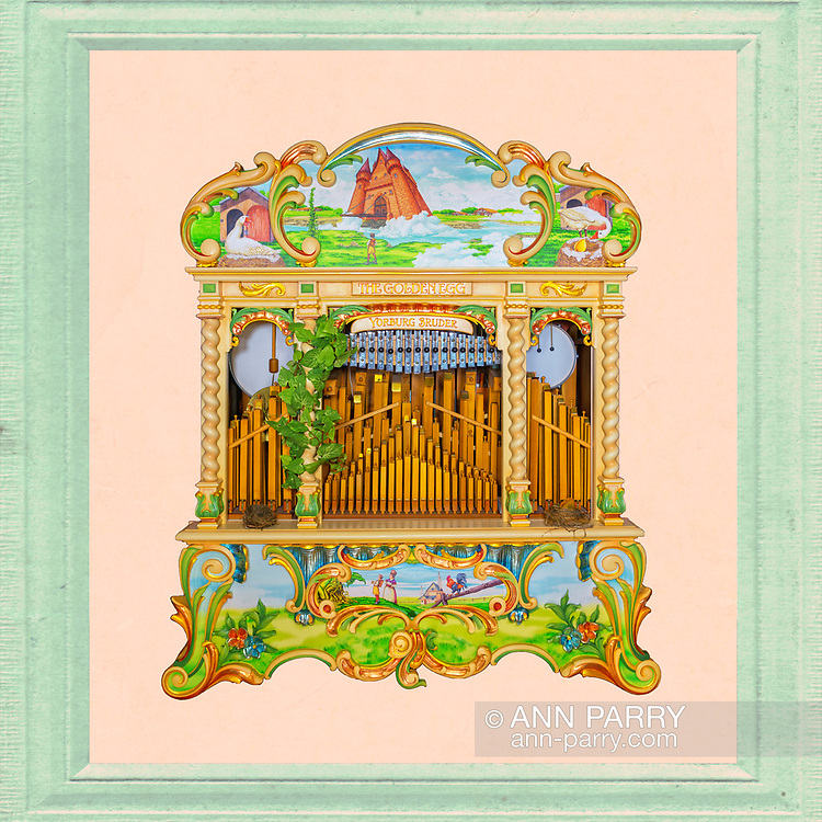 The Golden Egg 165 Carousel Organ, Yorburg Bruder: Jack and Beanstalk and the Goose that laid the golden egg illustrations on canvas by owner BOB STUHMER. Restoration carving by BOB YORBURG. Painted and gilded wood facade by PAM HESSEY. 2018