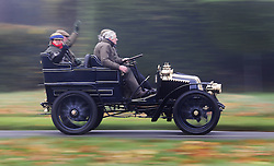© Licensed to London News Pictures. 01/11/2015. Staplefield, UK. A 1903 Renault passes through Staplefield as it takes part in the London to Brighton Veteran Car Run.  Photo credit: Peter Macdiarmid/LNP