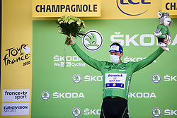Sam BENNETT (IRL) pictured celebrating on the podium as he retains the points classification green jersey at the end of stage 19 of Tour de France cycling race, over 166,5 kilometers (103.4 miles) with start in Bourg-en-Bresse and finish in Champagnole, France,Friday, September 18, 2020.//JEEPVIDON_1615014/2009191626/Credit:jeep.vidon/SIPA/2009191634 / Sportida