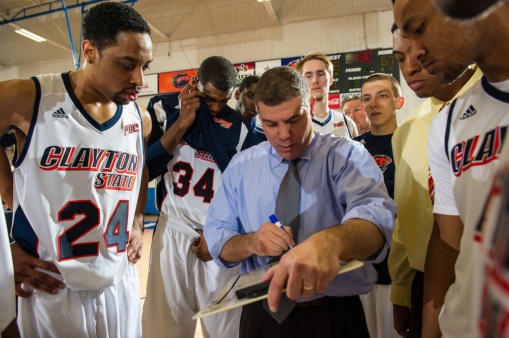 Nov. 23, 2013; Morrow, GA, USA; Clayton State head coach Paul Harrison during game against Claflin at Clayton State. Photo by Kevin Liles / kevindliles.com