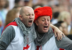MOSCOW, July 11, 2018  Fans cheer prior to the 2018 FIFA World Cup semi-final match between England and Croatia in Moscow, Russia, July 11, 2018. (Credit Image: © Yang Lei/Xinhua via ZUMA Wire)
