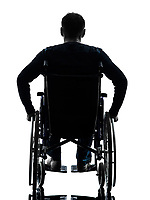 one handicapped man rear view in silhouette studio on white background