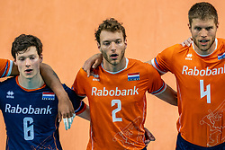 Just Dronkers of Netherlands, Wessel Keemink of Netherlands, Thijs Ter Horst of Netherlands in action during the CEV Eurovolley 2021 Qualifiers between Croatia and Netherlands at Topsporthall Omnisport on May 16, 2021 in Apeldoorn, Netherlands