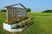 Welcome sign of St. Leon village, Saint Leon, Manitoba, Canada