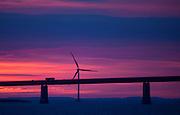 Windmill at Great Belt Bridge, Storebæltsforbindelsen,  in Denmark, connecting the islands of Zealand and Funen.