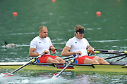 Bled, SLOVENIA,  Bow, Olaf TUFTE ans Iztok COP. NOR M2X  move away from the start in their heat of the men's double Sculls,  on the opening day, FISA World Cup, Bled venue, Lake Bled.  Friday  28/05/2010  [Mandatory Credit Peter Spurrier/ Intersport Images] Cop last event as international level.
