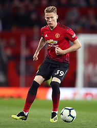 """Manchester United's Scott McTominay during the Premier League match at Old Trafford, Manchester. PRESS ASSOCIATION Photo. Picture date: Friday August 10, 2018. See PA story SOCCER Man Utd. Photo credit should read: Nick Potts/PA Wire. RESTRICTIONS: EDITORIAL USE ONLY No use with unauthorised audio, video, data, fixture lists, club/league logos or """"live"""" services. Online in-match use limited to 120 images, no video emulation. No use in betting, games or single club/league/player publications."""