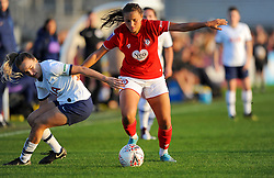 Abi Harrison of Bristol City competes with Josie Green of Tottenham Hotspur Women- Mandatory by-line: Nizaam Jones/JMP - 27/10/2019 - FOOTBALL - Stoke Gifford Stadium - Bristol, England - Bristol City Women v Tottenham Hotspur Women - Barclays FA Women's Super League