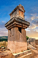 A Lycian  marble pillar tomb from 480-470 B.C.  Xanthos UNESCO World Heritage Archaeological Site, Turkey .<br /> <br /> If you prefer to buy from our ALAMY PHOTO LIBRARY  Collection visit : https://www.alamy.com/portfolio/paul-williams-funkystock/xanthos-lycian-turkey.html<br /> <br /> Visit our ANCIENT WORLD PHOTO COLLECTIONS for more photos to download or buy as wall art prints https://funkystock.photoshelter.com/gallery-collection/Ancient-World-Art-Antiquities-Historic-Sites-Pictures-Images-of/C00006u26yqSkDOM