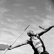 Valentins Sergejevs of Latvia competes in the  60-64-year-old age division of the javelin throw at the 2007 World Masters Championships Stadia (track and field competition) at Riccione Stadium in Riccione, Italy on September 6, 2007. ..9,000 male and female athletes over the age of 35 from 90 countries competed in two weeks of track and field events at the 17th annual event. The event is run by  the World Association of Masters Athletes, the organization designated by the IAAF (The International Association of Athletics Federations) to conduct the worldwide sport of masters athletics. The organization runs competitions and maintains record standings in the 5-year increment age divisions.  ...
