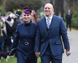 Zara Tindall and Mike Tindall arriving to attend the Christmas Day morning church service at St Mary Magdalene Church in Sandringham, Norfolk.