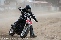 Hooligan flattracker Lance Joubert (no. 8) in the Hooligan races on the temporary track in front of the Sturgis Buffalo Chip main stage during the Sturgis Black Hills Motorcycle Rally. SD, USA. Wednesday, August 7, 2019. Photography ©2019 Michael Lichter.