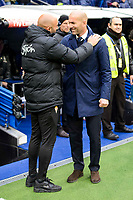 Real Madrid's coach Zinedine Zidane and Sporting de Gijon's coach Abelardo Fernández during match of La Liga between Real Madrid and Sporting de Gijon at Santiago Bernabeu Stadium in Madrid, Spain. November 26, 2016. (ALTERPHOTOS/BorjaB.Hojas)