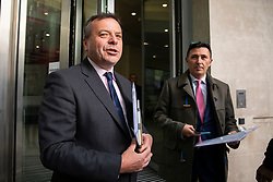 © Licensed to London News Pictures. 04/11/2018. London, UK. Co-founder of the Leave.EU campaign Arron Banks (L) and Andy Wigmore (R) arrive at BBC Broadcasting House to appear on The Andrew Marr Show. Photo credit: Rob Pinney/LNP