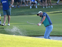 August 10, 2018 - St. Louis, Missouri, U.S. - ST. LOUIS, MO - AUGUST 10: Marc Leishman hits out of a bunker on the #10 green during the second round of the PGA Championship on August 10, 2018, at Bellerive Country Club, St. Louis, MO.  (Photo by Keith Gillett/Icon Sportswire) (Credit Image: © Keith Gillett/Icon SMI via ZUMA Press)