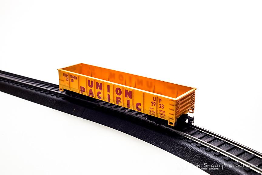 Hobby train set product photography