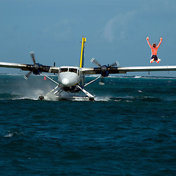Seaplane on the water in St. Croix USVI