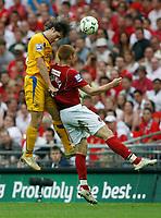 Photo: Steve Bond/Richard Lane Photography. <br />Ebbsfleet United v Torquay United. The FA Carlsberg Trophy Final. 10/05/2008. Chris Hargreaves (L) gets above Michael Bostwick (R)