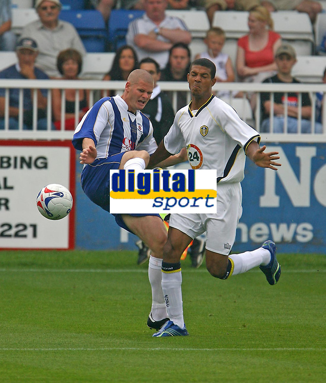 Photo: Andrew Unwin.<br />Hartlepool United v Leeds United. Pre Season Friendly. 22/07/2006.<br />Hartlepool's Michael Nelson (L) competes with Leeds' Jermaine Beckford.