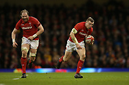 Hadleigh Parkes of Wales runs with the ball with Alun Wyn Jones of Wales (l) in support. Wales v Scotland, NatWest 6 nations 2018 championship match at the Principality Stadium in Cardiff , South Wales on Saturday 3rd February 2018.<br /> pic by Andrew Orchard, Andrew Orchard sports photography