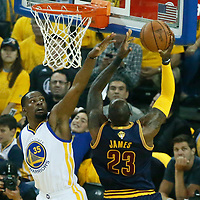 01 June 2017: Cleveland Cavaliers forward LeBron James (23) goes for the layup against Golden State Warriors forward Kevin Durant (35) during the Golden State Warriors 113-90 victory over the Cleveland Cavaliers, in game 1 of the 2017 NBA Finals, at the Oracle Arena, Oakland, California, USA.