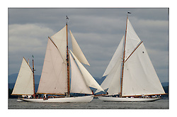 Kentra, a 100' Gaff Ketch designed for Cruising next to the racing Gaff cutter of The Lady Anne...This the largest gathering of classic yachts designed by William Fife returned to their birth place on the Clyde to participate in the 2nd Fife Regatta. 22 Yachts from around the world participated in the event which honoured the skills of Yacht Designer Wm Fife, and his yard in Fairlie, Scotland...FAO Picture Desk..Marc Turner / PFM Pictures