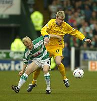 Fotball<br /> Photo. Andrew Unwin, Digitalsport<br /> NORWAY ONLY<br /> <br /> Yeovil v Cheltenham, Nationwide League Division Three, Huish Park, Yeovil 10/04/2004.<br /> Yeovil's Darren Way (l) battles with Cheltenham's Grant McCann (r).