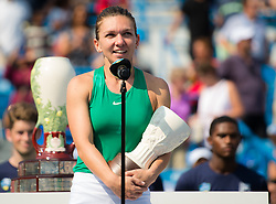 August 19, 2018 - Simona Halep of Romania with her runner-up trophy after the final of the 2018 Western & Southern Open WTA Premier 5 tennis tournament. Cincinnati, Ohio, USA. August 19th 2018. (Credit Image: © AFP7 via ZUMA Wire)