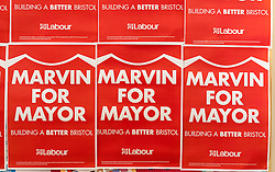 © Licensed to London News Pictures. 14/02/2016. Bristol, UK. Posters are displayed at the MARVIN REES for Mayor campaign launch at Avon Primary School, Shirehampton, Bristol. Marvin Rees is the Labour candidate for Bristol's Mayoral election on 05 May, and his main rival is the incumbent George Ferguson, Bristol's first elected mayor who is standing again as an independent. There are four mayoral elections in May 2016, London, Bristol, Liverpool and Salford. Photo credit : Simon Chapman/LNP