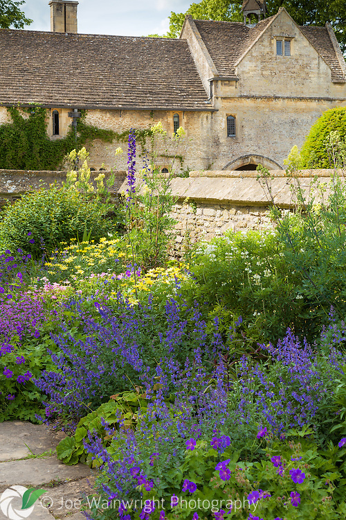 The gardens at Great Chalfield Manor, a National Trust property near Bradford-on-Avon, Wiltshire, photographed in June