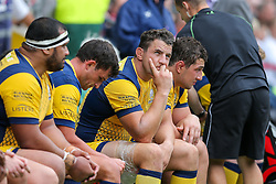 Phil Dowson of Worcester Warriors looks frustrated from the dugout - Rogan Thomson/JMP - 03/09/2016 - RUGBY UNION - Twickenham Stadium - London, England - Saracens v Worcester Warriors - Aviva Premiership London Double Header.