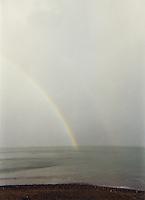Rainbow over Killiney Bay Dublin, Ireland, grainy image