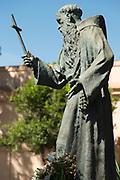 Statue of Fray Pablo De Cadiz holding cross, Cadiz, Andalusia, Spain