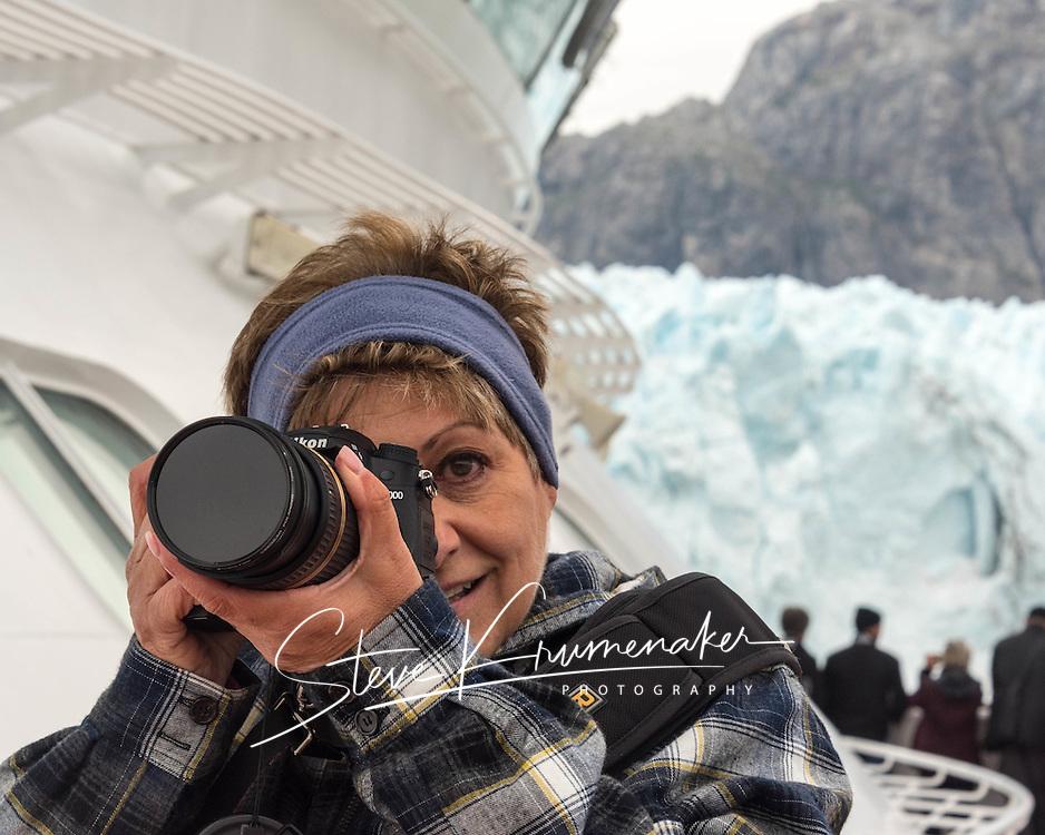 Steve's shot of Donna shooting Margarie Glacier, Glacier Bay National Park, AK