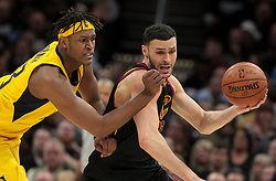 April 18, 2018 - Cleveland, OH, USA - The Cleveland Cavaliers' Larry Nance Jr., right, is fouled by the Indiana Pacers' Myles Turner in the fourth quarter in Game 2 of a first-round NBA playoff series on Wednesday, April 18, 2018, at the Quicken Loans Arena in Cleveland. The Cavs won, 100-97, to even the series. (Credit Image: © Leah Klafczynski/TNS via ZUMA Wire)