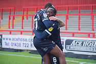GOAL 1-1 Morecambe midfielder Toumani Diagouraga (8) celebrates after scoring with Morecambe forward AJ Leitch-Smith (17)  during the EFL Sky Bet League 2 match between Stevenage and Morecambe at the Lamex Stadium, Stevenage, England on 6 February 2021.