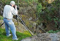 Staffan Widstrand photographing an Eagle owl chick, Bubo bubo, Morko, Sormland, Sweden, photo by Fredrik Hylten-Cavallius
