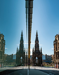 Edinburgh, Scotland, UK. 8 April 2020. Images from Edinburgh during the continuing Coronavirus lockdown. Pictured; View of Scott monument from deserted South St David Street in city centre. Iain Masterton/Alamy Live News.