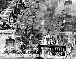 July 24, 1967 - Michigan, U.S. - Burned out shells are all that remain of former houses and businesses in the area of the Detroit, Michigan race riot in 1967. (Credit Image: © Detroit Free Press via ZUMA Wire)