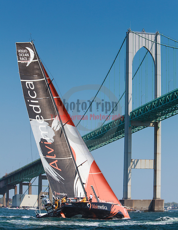 NEWPORT, RI - MAY 17: Team Alvimedica is shown racing during the start of Leg 7 from Newport to Lisbon on May 17, 2015 in Newport, Rhode Island. The Volvo Ocean Race 2014-15 is the 12th running of this ocean marathon. Starting from Alicante in Spain on October 11, 2014, the route, spanning some 39,379 nautical miles, visits 11 ports in eleven countries (Spain, South Africa, United Arab Emirates, China, New Zealand, Brazil, United States, Portugal, France, The Netherlands and Sweden) over nine months. The Volvo Ocean Race is the world's premier ocean yacht race for professional racing crews. (Photo by Tripp Burman / www.Phototripp.com