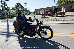 Jeff Erdman of Wisconsin on his 1916 Harley-Davidson during the Motorcycle Cannonball Race of the Century. Stage-4 from Chillicothe, OH to Bloomington, IN. USA. Tuesday September 13, 2016. Photography ©2016 Michael Lichter.